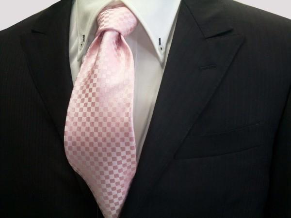 定番・市松模様 ネクタイ【ピンク市松模様ネクタイ】