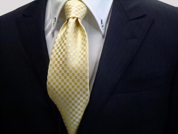 定番・市松模様 ネクタイ【イエロー(黄色)市松模様ネクタイ】