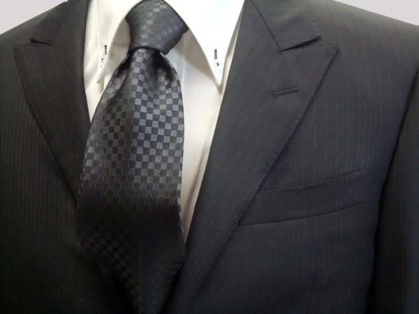 定番・市松模様 ネクタイ【チャコールグレー市松模様ネクタイ】