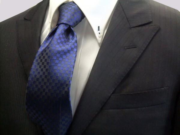 ネクタイ【濃い青(ブルー)市松模様ネクタイ】