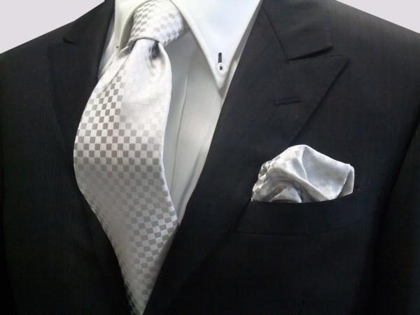 ネクタイ・チーフセット【シルバーグレー結婚式用 市松模様ネクタイ&チーフセット】