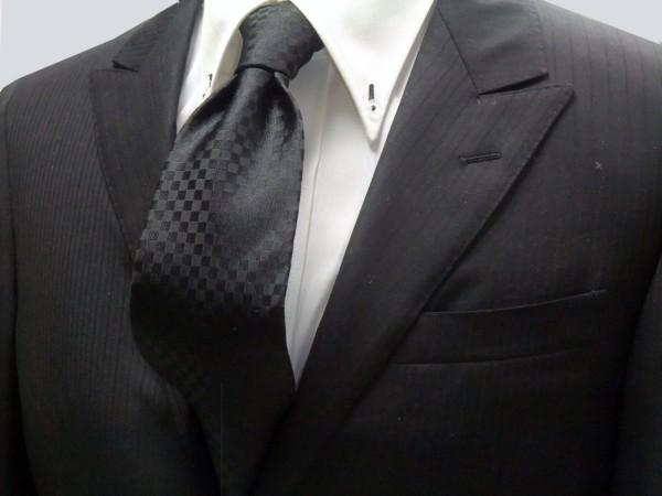 定番・市松模様 ネクタイ【黒市松模様ネクタイ】