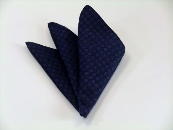 ポケットチーフ【紺色(ネイビー)の市松模様ポケットチーフ】