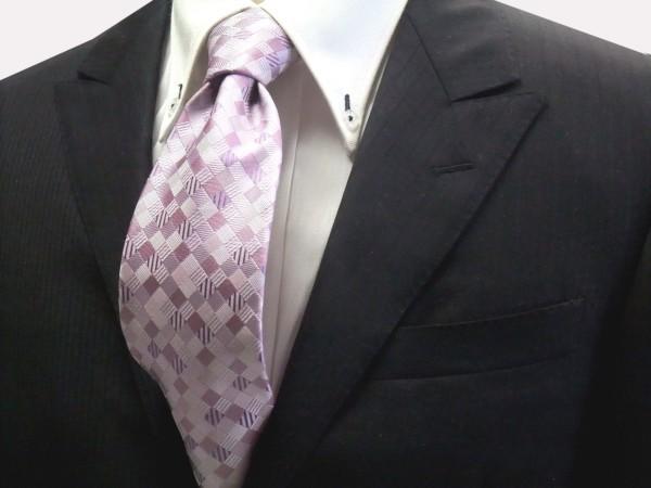 ネクタイ【ラベンダーのグラデーション(4色)の市松模様ネクタイ】