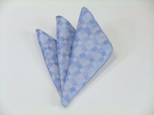 ポケットチーフ【水色とブルー(青)の4色のグラデーション市松模様ポケットチーフ】
