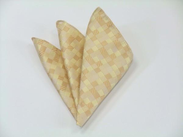 ポケットチーフ【黄色とゴールドのグラデーション(4色)の市松模様ポケットチーフ】