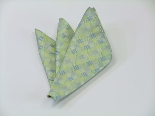 ポケットチーフ【ライトグリーンのグラデーション(4色)の市松模様ポケットチーフ】