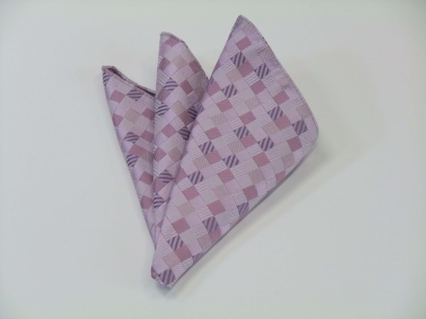 ポケットチーフ【ラベンダーのグラデーション(4色)の市松模様ポケットチーフ】