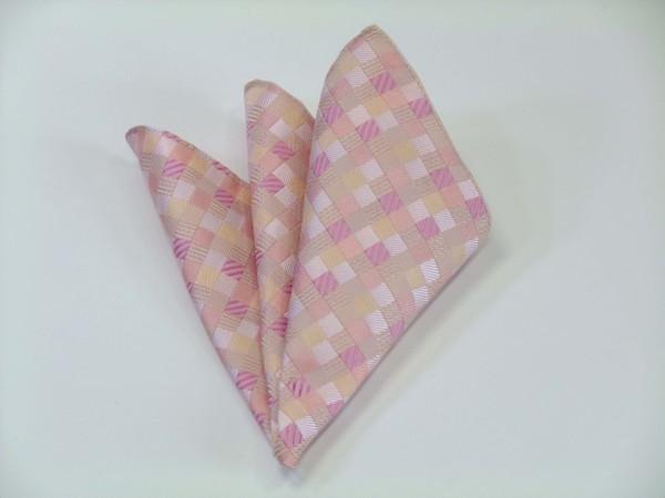 ポケットチーフ【ピンクのグラデーション(4色)の市松模様ポケットチーフ】