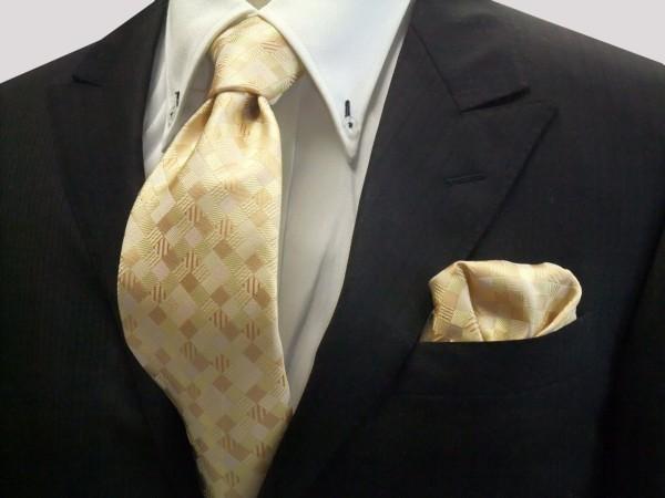 ネクタイ・ポケットチーフセット【黄色とゴールドのグラデーション(4色)の市松模様ネクタイ&ポケットチーフセット】