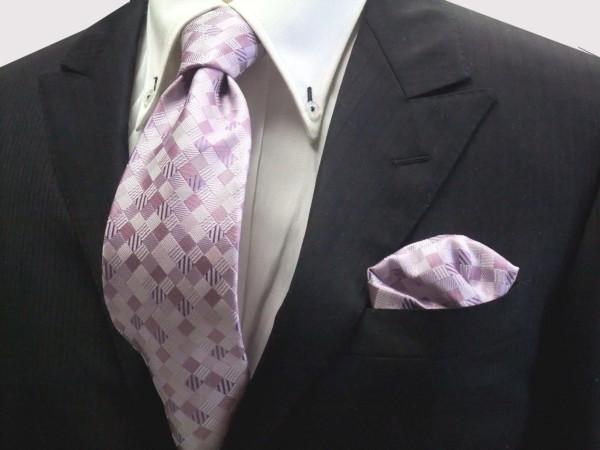 ネクタイ・チーフセット【ラベンダーのグラデーション(4色)の市松模様ネクタイ&チーフセット】