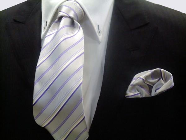 ネクタイ・ポケットチーフセット【シルバーグレー地にパープル(紫)と白のストライプネクタイ&ポケットチーフセット】