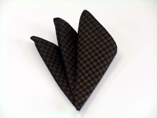ポケットチーフ【ブラウン(茶)×ブラック市松模様ポケットチーフ】