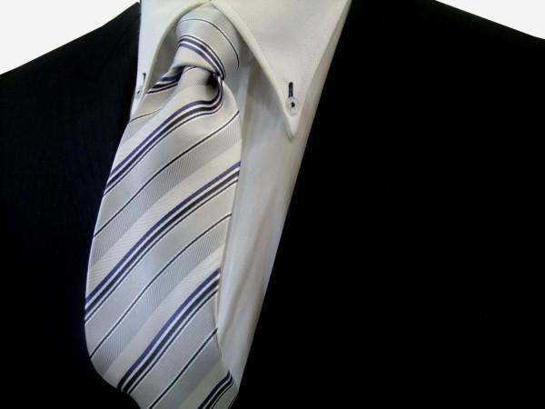 定番・市松模様 ネクタイ【シルバーの濃淡と黒と青紫のストライプ】