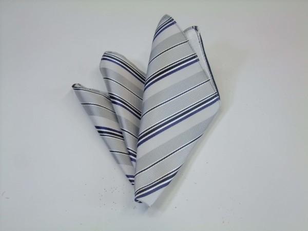 ポケットチーフ【シルバーの濃淡と黒と青紫のストライプ】