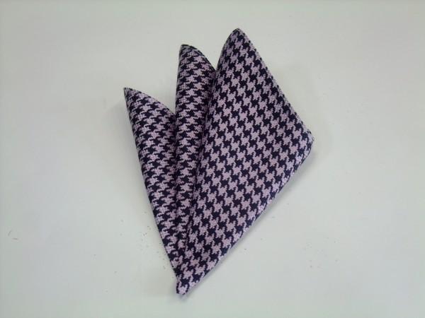 ポケットチーフ【ピンク×パープルの千鳥格子ポケットチーフ】