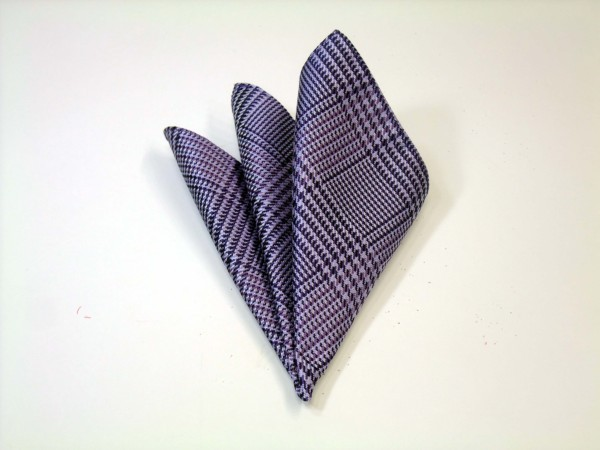 ポケットチーフ【パープルとラベンダーのグレンチェックポケットチーフ】