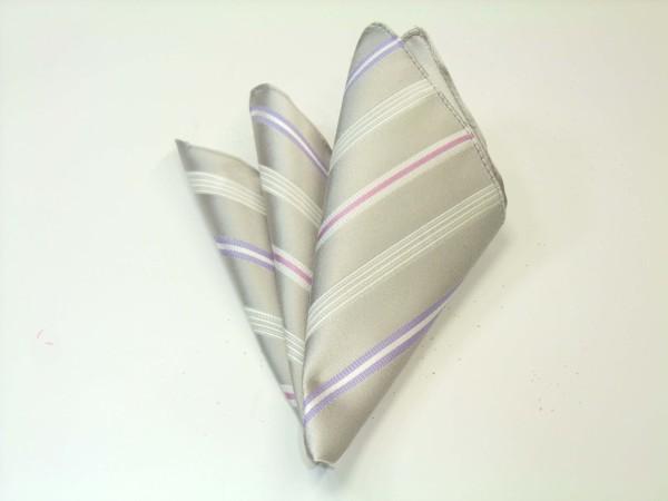ポケットチーフ【シルバーグレー地に白とラベンダーとピンクのストライプポケットチーフ】