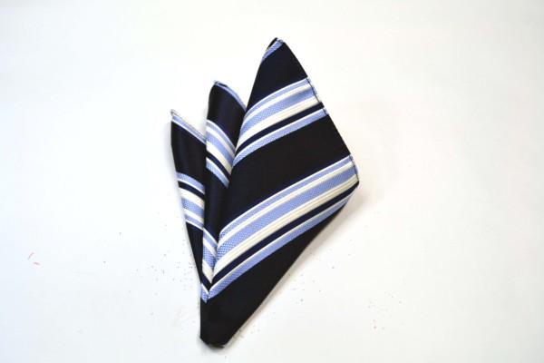 ポケットチーフ【濃い紺地に白と水色のストライプポケットチーフ】