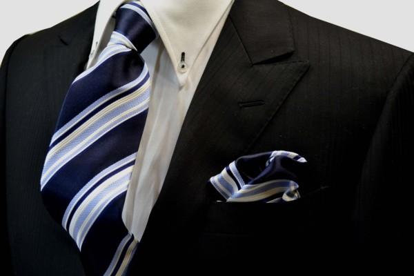 ネクタイ・チーフセット【濃い紺地に白と水色のストライプネクタイ&チーフセット】
