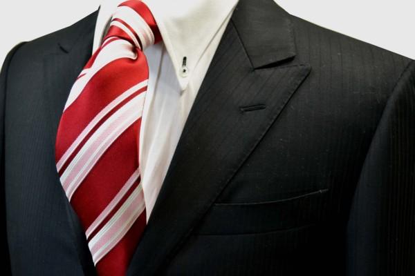 定番・市松模様 ネクタイ【赤地にピンクと白のストライプネクタイ】