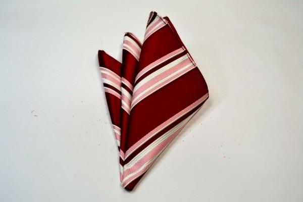 ポケットチーフ【赤地にピンクと白のストライプのポケットチーフ】