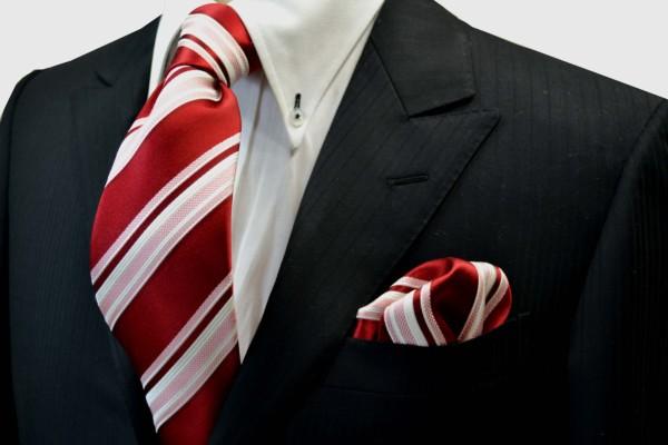 ネクタイ・ポケットチーフセット【赤地にピンクと白のストライプネクタイチーフセット】