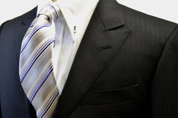 定番・市松模様 ネクタイ【シルバーグレー地にパープルのグラデーションのストライプネクタイ】