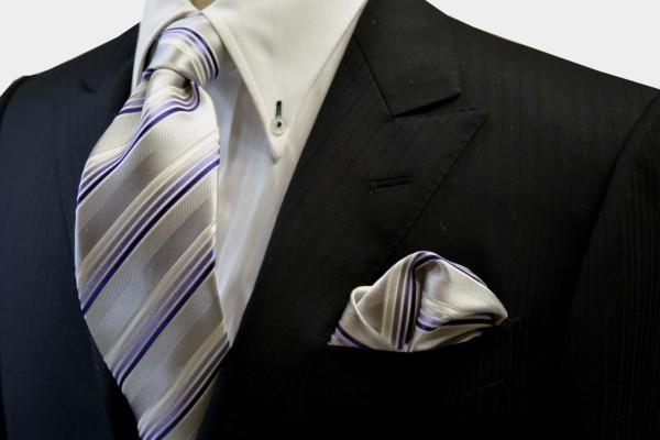 ネクタイ・ポケットチーフセット【シルバーグレー地にパープルのグラデーションのストライプネクタイチーフセット】