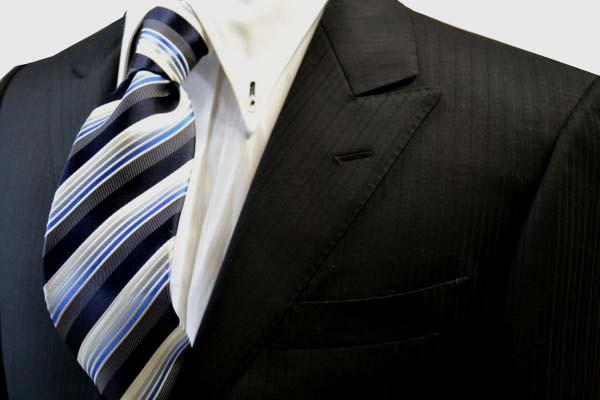 定番・市松模様 ネクタイ【黒に近い紺と紺とブルーのグラデーションのストライプネクタイ】