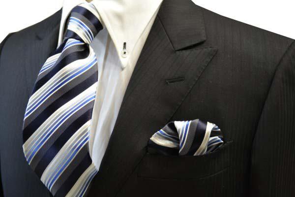 ネクタイ・チーフセット【黒に近い紺と紺とブルーのグラデーションのストライプネクタイ&チーフセット】