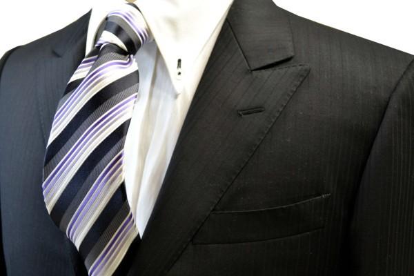 定番・市松模様 ネクタイ【黒と紫のグラデーションのネクタイ】