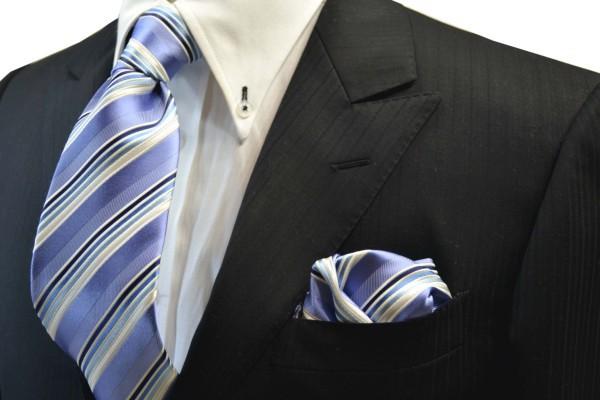 ネクタイ・ポケットチーフセット【水色地に紺とブルーのグラデーションネクタイ&チーフセット】