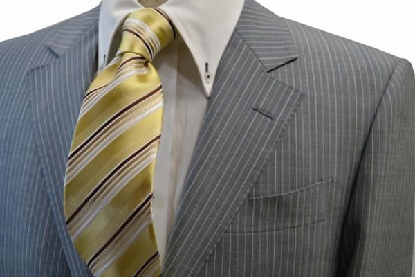 定番・市松模様 ネクタイ【黄色とゴールドと茶系のグラデーションネクタイ】
