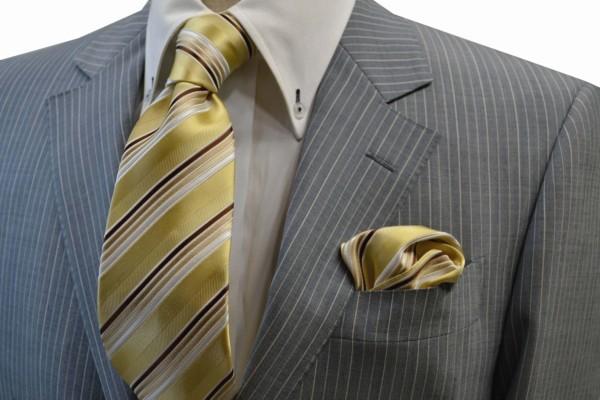ネクタイ・チーフセット【黄色とゴールドと茶系のグラデーションネクタイ&ポケットチーフセット】