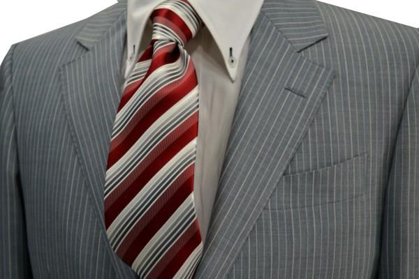 定番・市松模様 ネクタイ【赤(レッド)地にグレーのグラデーションネクタイ】