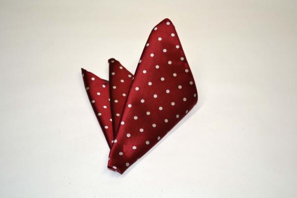 ポケットチーフ【濃い赤(レッド)地に白の水玉(ドット)柄ポケットチーフ】