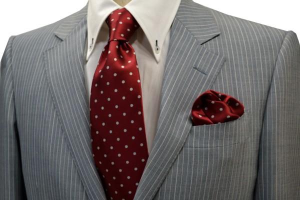ネクタイ・ポケットチーフセット【濃い赤(レッド)地に白の水玉5mm(ドット)柄ネクタイ&チーフセット】