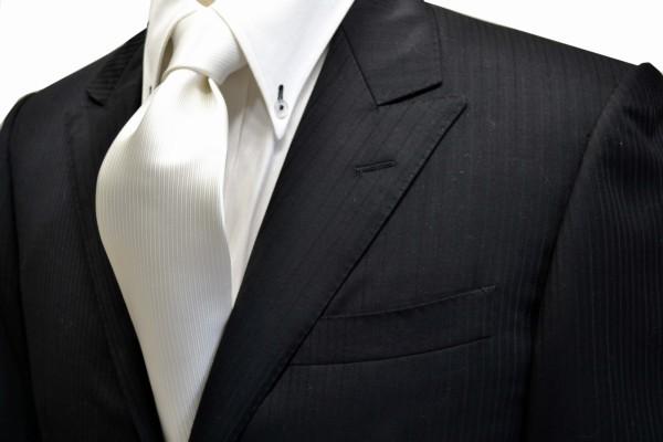 定番・市松模様 ネクタイ【白のソリッド(無地)ネクタイ(少し黄色かかっています。)】