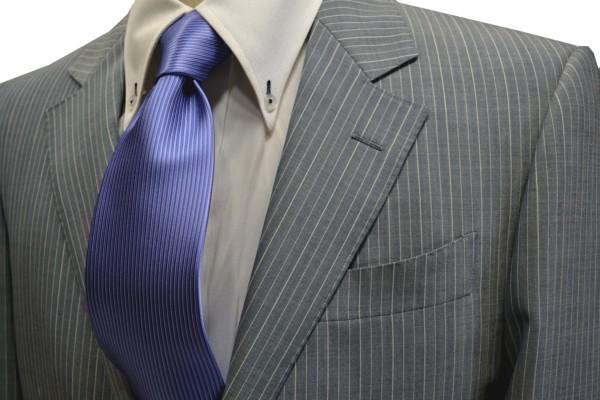 定番・市松模様 ネクタイ【濃い水色(ラベンダーがかかっています)ソリッド(無地)ネクタイ】