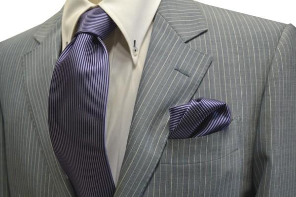 ネクタイ・ポケットチーフセット【紫のソリッド(無地)ネクタイ&チーフセット】