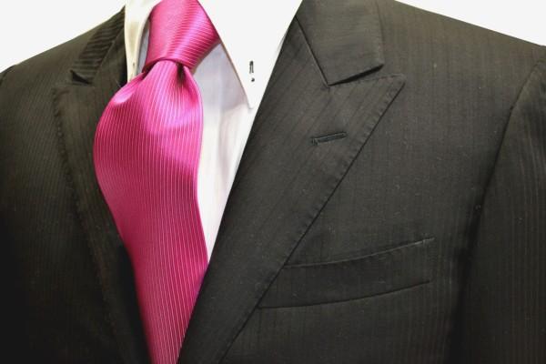 定番・市松模様 ネクタイ【濃いローズピンクのソリッド(無地)ネクタイ】