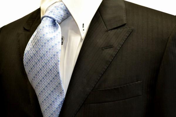 定番・市松模様 ネクタイ【水色の濃淡地に織柄のドット柄ネクタイ】