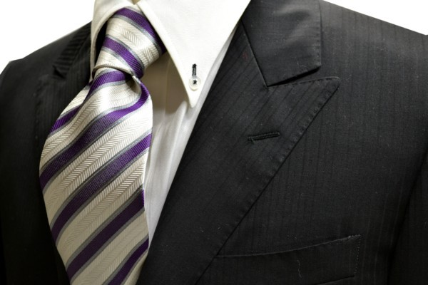 定番・市松模様 ネクタイ【織柄の白地に紫とグレーのストライプネクタイ】