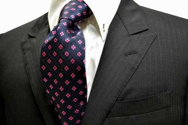 ネクタイ【織柄の紺地にピンクの小花の小紋柄ネクタイ】