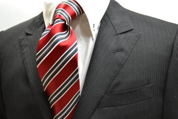 定番・市松模様 ネクタイ【レッド地(赤地)に白とグレーのストライプネクタイ】
