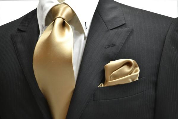ネクタイ・ポケットチーフセット【シャンパーンゴールドのネクタイ&チーフセット】