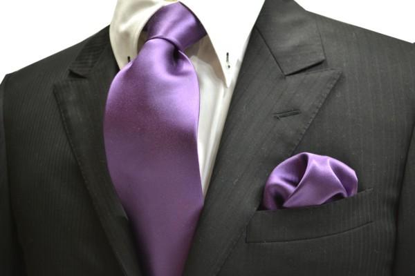 ネクタイ・チーフセット【紫(濃いラベンダー)のネクタイ&ポケットチーフセット】