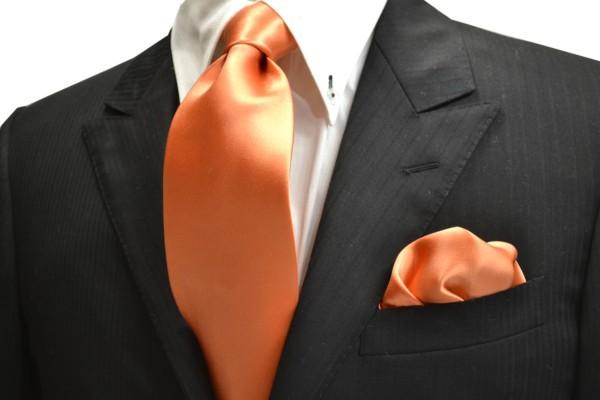 ネクタイ・ポケットチーフセット【鮮やかなオレンジのネクタイ&チーフセット】