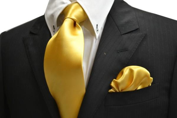ネクタイ・ポケットチーフセット【イエローゴールドのネクタイ&ポケットチーフセット】